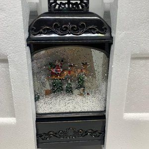 "12"" Illuminated Glitter Lantern with Holiday Scene"